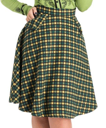 Voodoo Vixen Green Dots Wool-Blend Virgie Ruth A-Line Skirt
