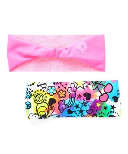 8e68634ba001 Bondi Band Good Vibes   Neon Pink Headband Set - Kids