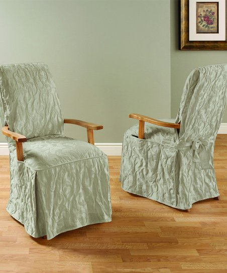 Sure Fit Linen Matelasse Damask Armed Dining Chair Cover  c630cbe53