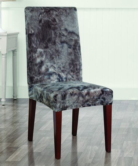 Brilliant Sure Fit Gray Stretch Plush Tie Dye Dining Chair Cover Gmtry Best Dining Table And Chair Ideas Images Gmtryco