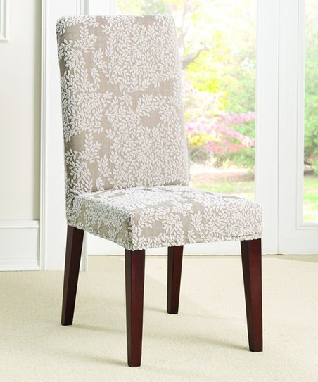 Awesome Sure Fit Antique Beige Cream Stretch Forest Knit Dining Chair Cover Gmtry Best Dining Table And Chair Ideas Images Gmtryco
