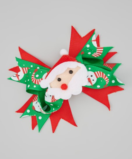 3ab012563157d So Girly   Twirly Green   Red Santa Hair Clip