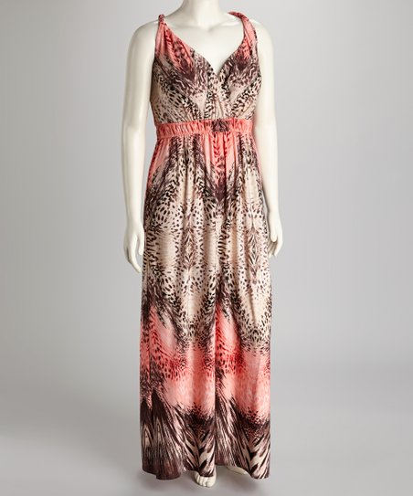 Glamour Apparel Pink & Tank Exotic Plus-Size Maxi Dress | Zulily