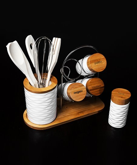 Micro World 10-Piece Porcelain & Bamboo Spice Rack & Utensil Set