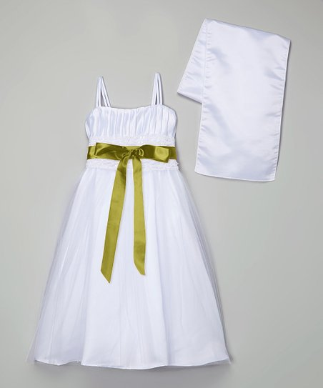 c2759a96b86 love this product White   Moss Green Tulle Overlay Dress   Shawl - Toddler    Girls