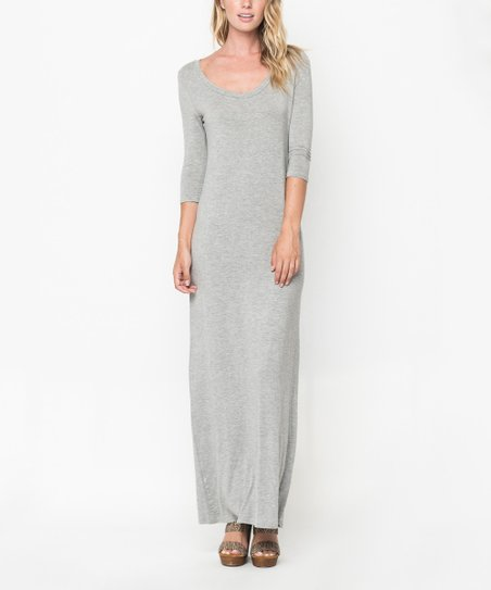 9e17bc98db1 Caralase Heather Gray Scoop Neck Maxi Dress