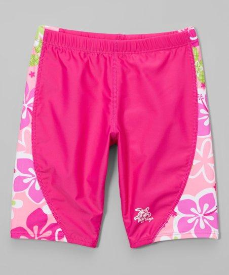 0300563d41 Tuga Sunwear Pink Floral Jammer Swim Shorts - Toddler & Girls | Zulily