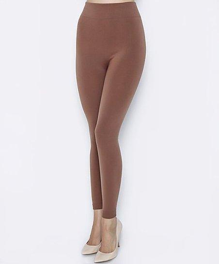 d5202bad474837 Love, Kuza Mocha Fleece-Lined Leggings - Women | Zulily