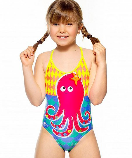 7095dbed965 Happy Turbo Pink & Yellow Octopus One-Piece Swimsuit - Kids