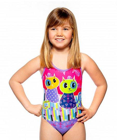 5ff92c6989e Happy Turbo Pink & Purple Cat One-Piece Swimsuit - Kids & Tween