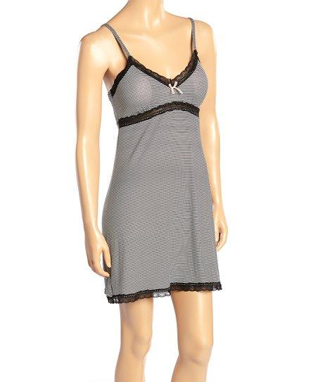 90d8a6ac8435 Marilyn Monroe Intimates Black Stripe Lace-Trim Nightgown | Zulily