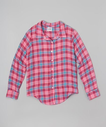 c4a0cd6f7 Erge Hot Pink & Sky Blue Plaid Button-Up Flannel Shirt - Girls | Zulily