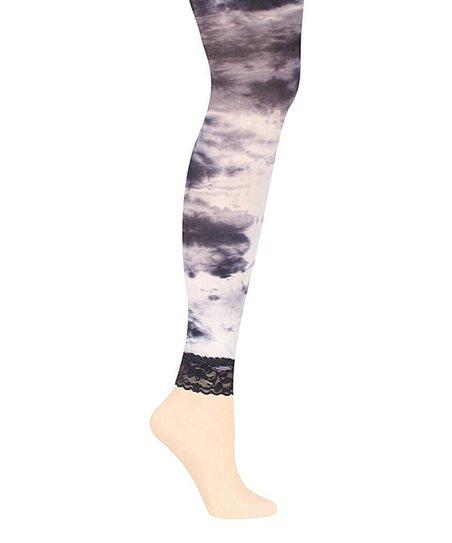 Grey Tie Dye Footless Tights