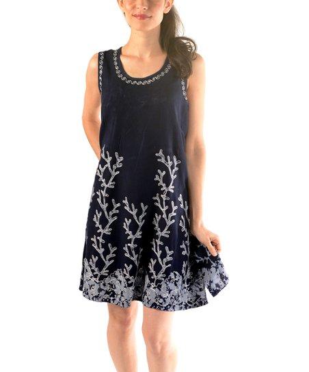 7d6cbf2a504 TrendzArt Navy   Gray Floral-Batik Embroidered Summer Dress