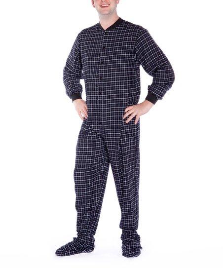 37a034b6a818 Big Feet Pjs Black   White Plaid Flannel Dropseat Footed Pajamas ...