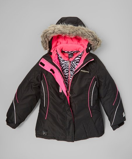 6685ac3b4ea2c love this product Black   Zebra Alex 3-in-1 Systems Jacket - Girls