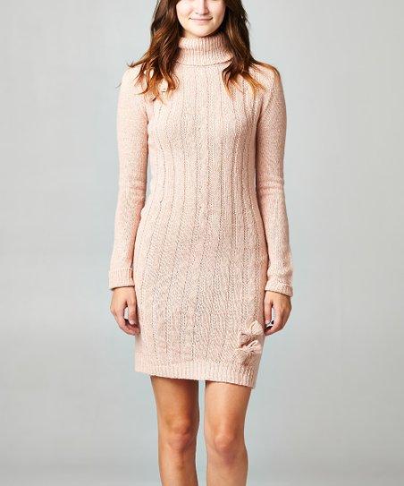 db7a5c3d6b84 Christine V Blush Cable-Knit Wool-Blend Turtleneck Sweater Dress ...