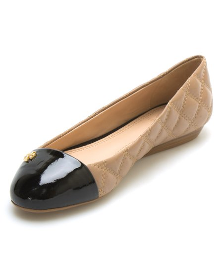 260cdf0f1031 Tory Burch Clay Beige   Black Claremont Quilted Leather Flat
