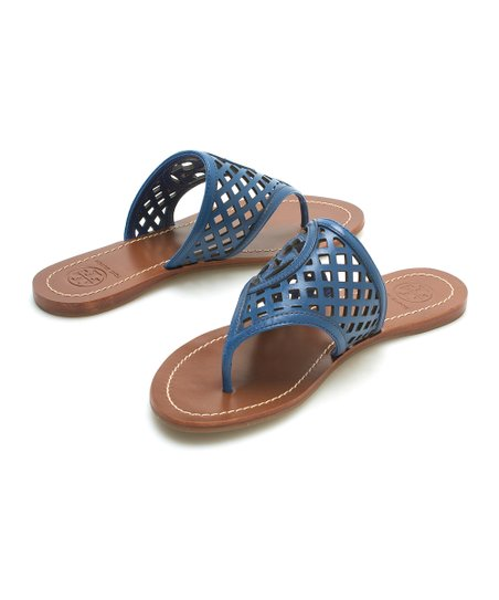 ba3c0a110be144 Tory Burch Greek Blue Thatched Perforated Leather Sandal