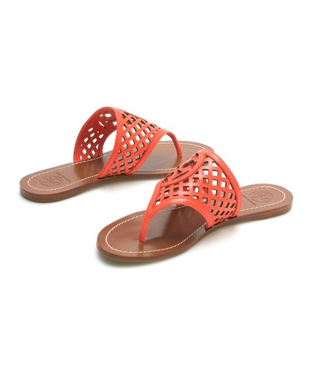 3675b04cadc9b Tory Burch Poppy Coral Thatched Perforated Leather Sandal