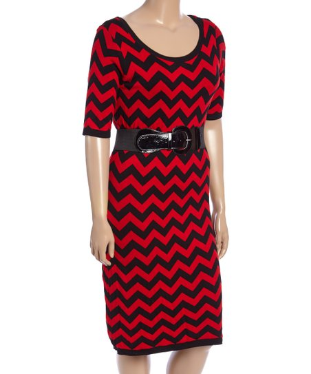 f05e0111f6f Allison Brittney Black   Red Chevron Belted Sweater Dress - Plus ...