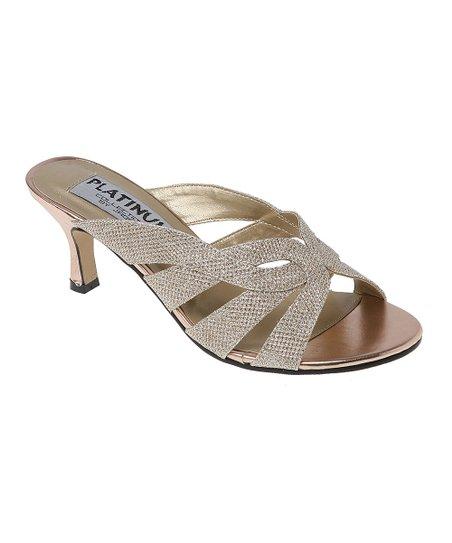 Platinum Gold Shimmer Wide-Width Sandal