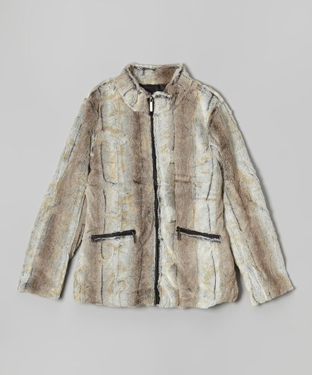 bcf210ba8df1 love this product Off-White & Light Gray Faux Fur Coat - Girls