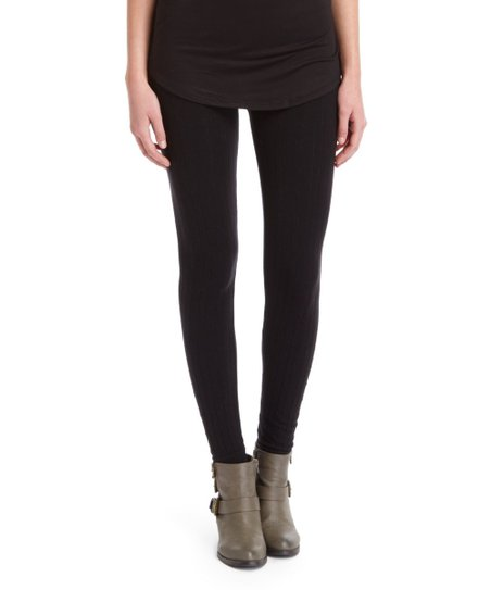 59b9b1bd9df3c Fashionomics Black Cable-Knit Sweater Leggings   Zulily