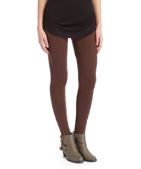 fe70394fc7070 Fashionomics Brown Cable-Knit Sweater Leggings | Zulily