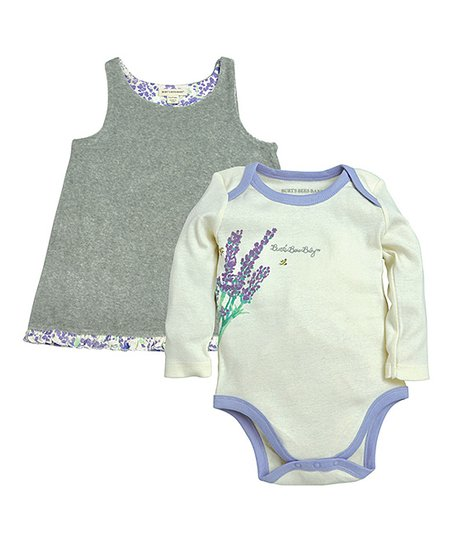 bdbf4200b Burts Bees Baby Lavender Floral Organic Reversible Dress   Bodysuit ...