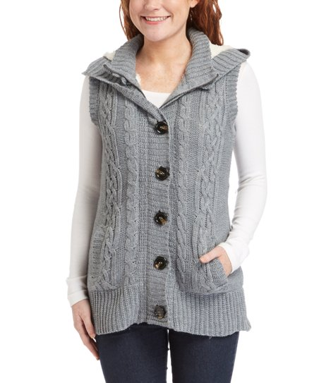 Ci Sono by Cavalini Heather Gray Cable Knit Hooded Zip Up