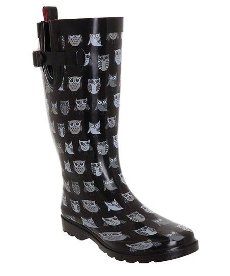 d4ee3be8228 Capelli New York Black Sketchy Pop Owl Rain Boot - Women   Zulily