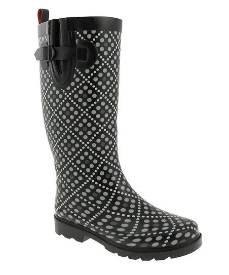 Black Shiny Little Diamond Dots Rain Boots