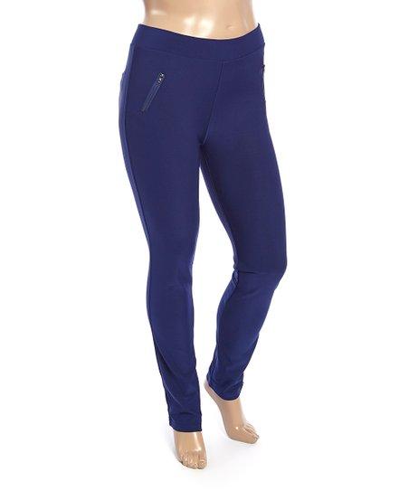 2e27f7416f55 Poplooks Dark Blue Zipper-Accent Leggings - Plus | Zulily