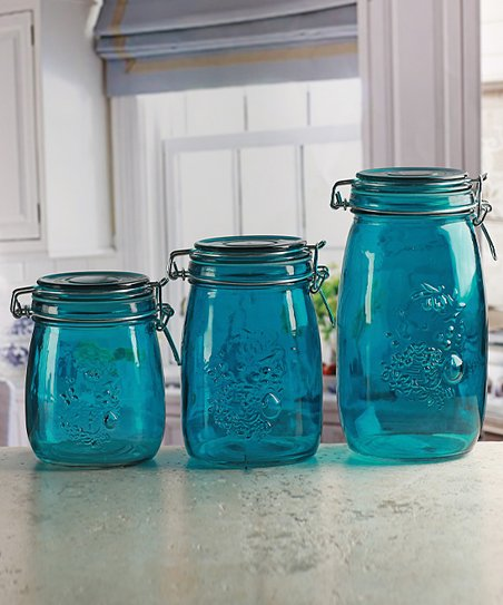 Circleware Aqua Embossed Fruit Vintage Kitchen Canister Set Of Three Best Price And Reviews Zulily