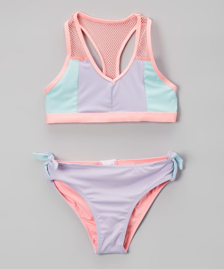 f60649bb01 love this product Pastel Retro Summer Color Block Mesh-Accent Bikini - Girls