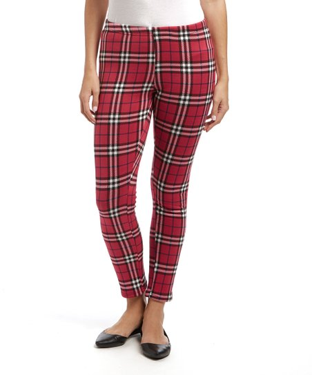 0ddc2e50c34668 love this product Red Plaid Fleece-Lined Leggings - Women