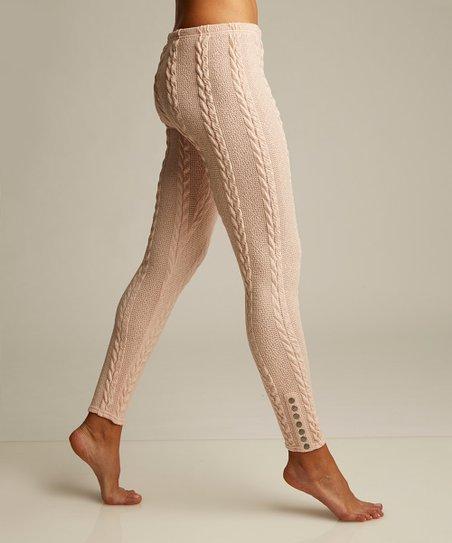 14d239ec8c1deb Lemon Legwear Blush Cable-Knit Snap-Accent Leggings | Zulily