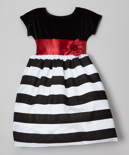 f74615a0e7877 love this product Black & White Stripe Holiday Dress - Toddler & Girls