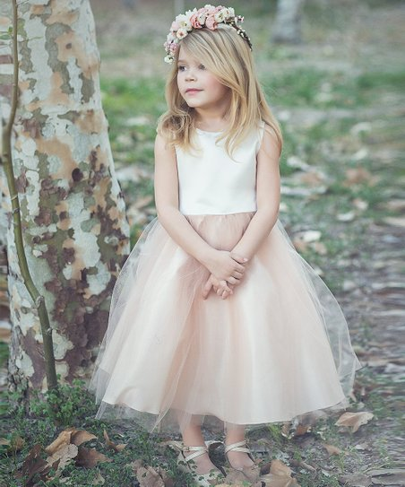 dc6066f5a6f Precious Kids Ivory & Champagne Tulle A-Line Dress - Girls