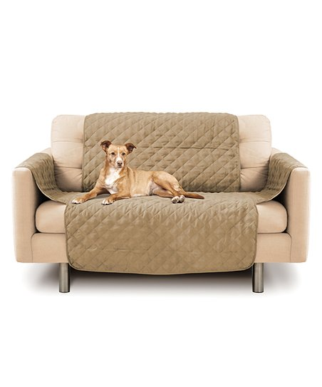 Precious Tails Camel Beige Quilted Love Seat Cover  5f9600252