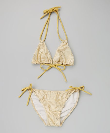 5f85aeb90cea9 9s Swimwear Gold Snake String Bikini