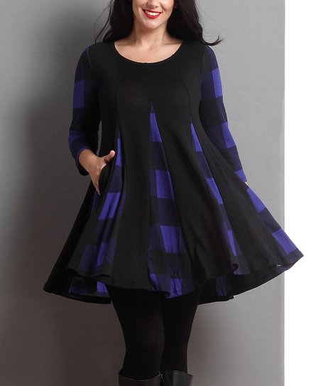 67783a39b84 Reborn Collection Black & Blue Buffalo Check Swing Tunic | Zulily