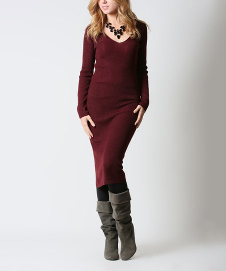 88ca765281f0 love this product Burgundy Ribbed Knit Sweater Dress - Women