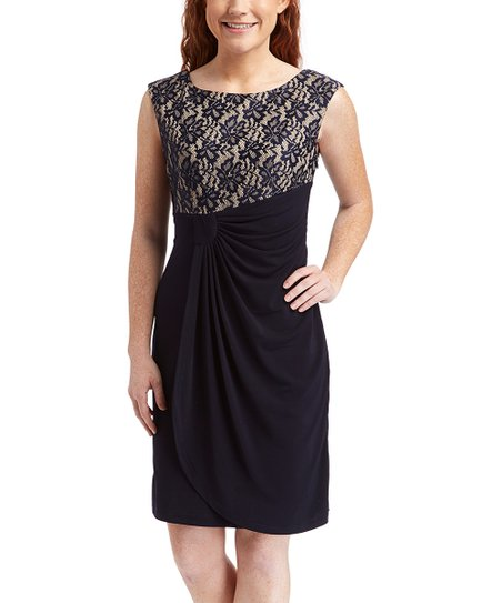 5c03308f9d00 Shelby   Palmer Navy   Nude Lace Ruched Sleeveless Dress - Plus Too ...