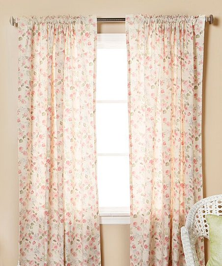 Love This Product Pink Cream Fl Curtains Set Of Two