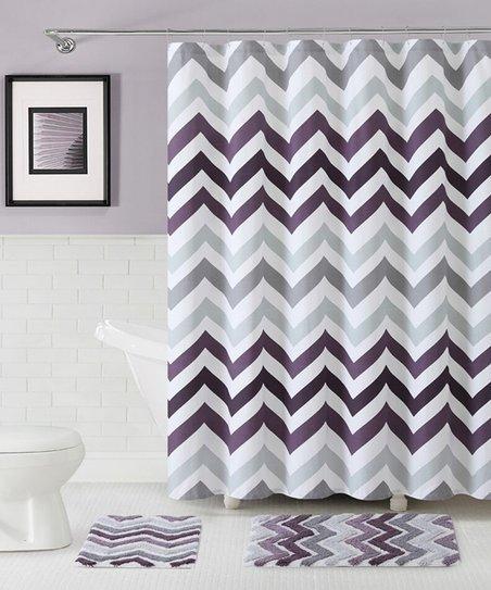Purple Corso Chevron Shower Curtain Bath Rug Set