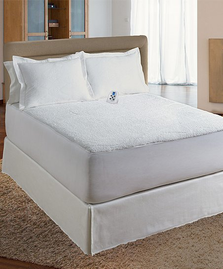 Perfect Fit Industries White Sherpa Plush Electric Heated Mattress