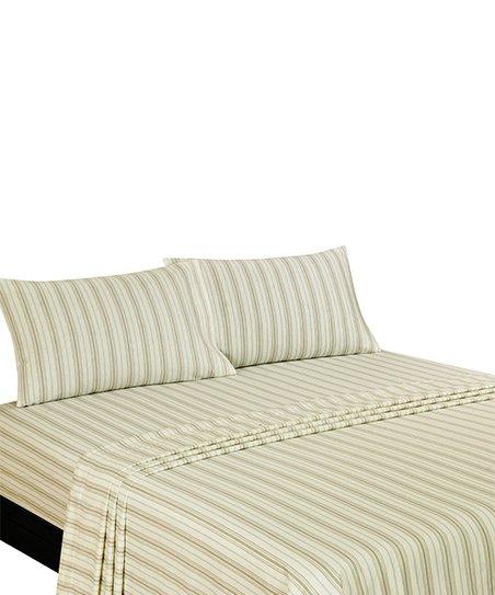 American Homes & Textiles Aqua & Teal Stripe Flannel Sheet Set