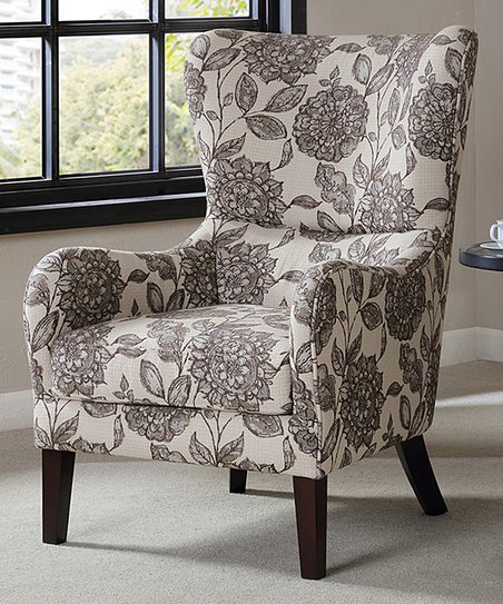 Main Green Black White Floral Accent Chair Zulily